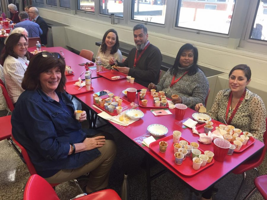 Lakeland+staff+enjoying+the+Chili+Cook-off.+On+the+left+is+winner+of+the+Most+Creative+Chili+prize%2C+Ms.+Kathy+Garofano.