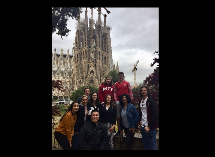 The Spain explorers outside the La Sagrada Família in Barcelona. From L-R, students Annika Wilber, Helena Chaves, Josh Caggiano, Anna Lustig, Katie Groanendaal (top), Katie Owens (bottom), Ethan Dispoto, and Matt Harder with teachers Mr. Truong and Ms. Diaz.