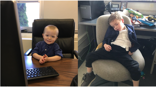 Mr. McCurnin's son Jackson (2) and Ms. Cawley's son Jack (3) both hard at work during Bring Your Child to Work Day.