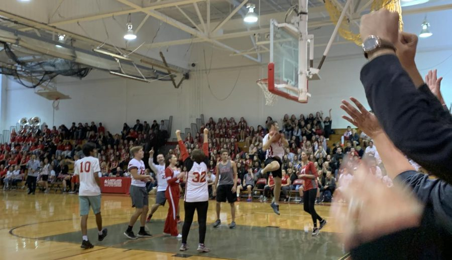 Students cheered on staff and student athletes during the pep rally basketball game.
