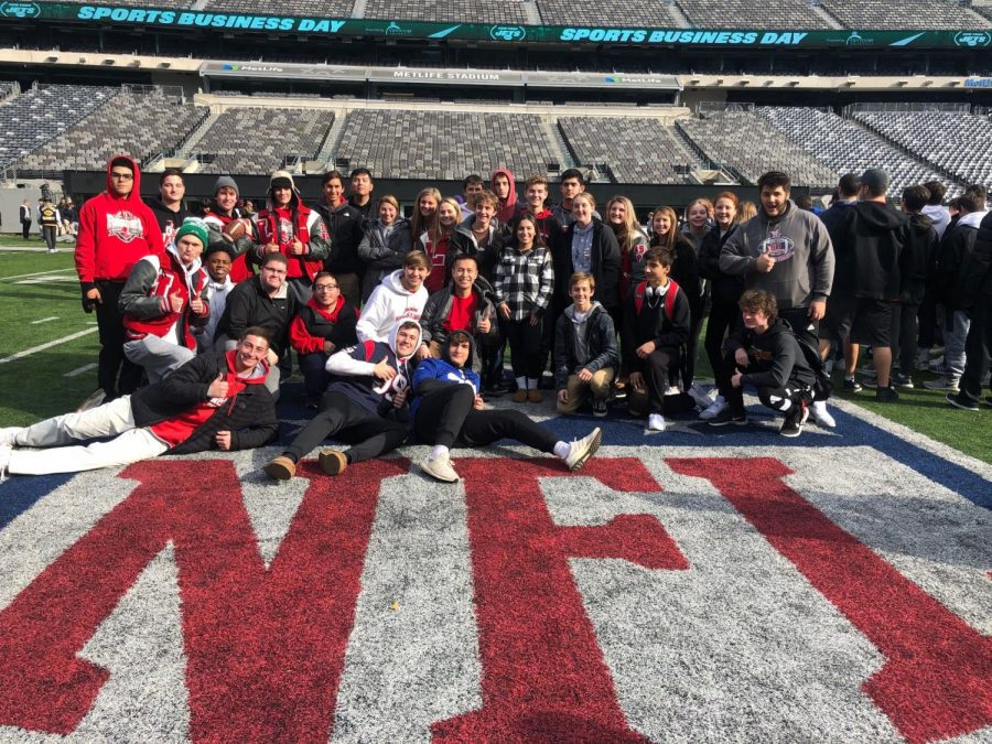 FBLA and Business Practice Firm students were treated to some time on the Jets field following a day of learning about business and marketing.