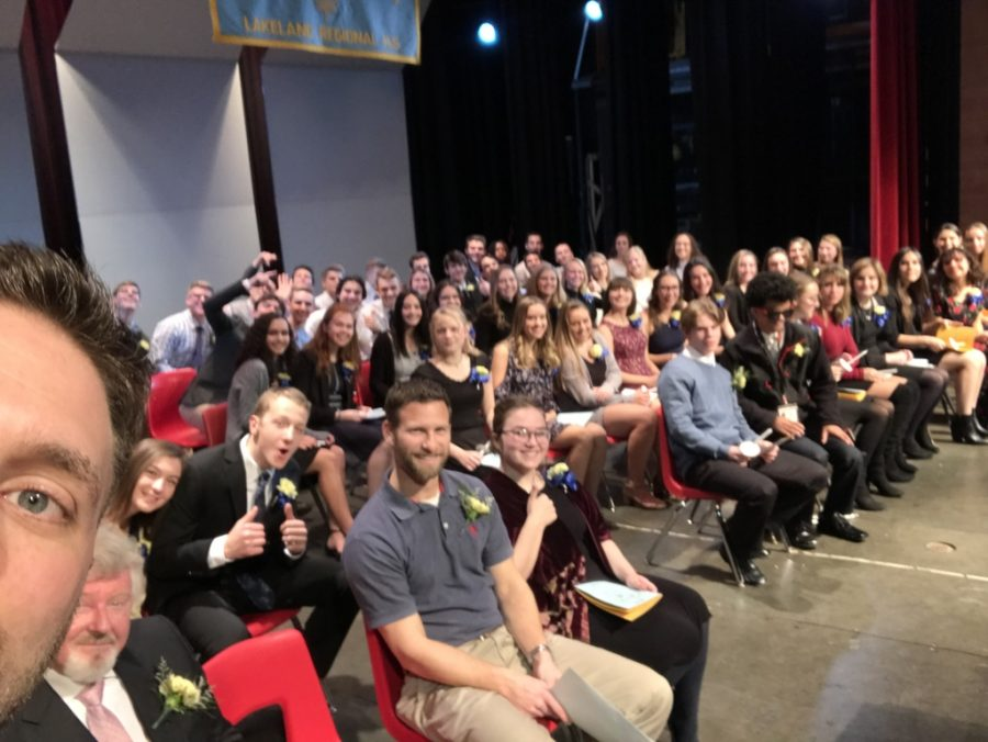 Mr. Novak congratulates the new members of NHS in one of his famous Lakeland Live Feed selfies.