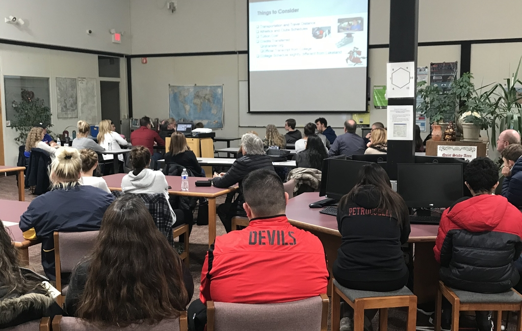 Students and parents learn about Lakeland's Dual Enrollment Program during an informative night led by Mr. Keith Kelley.