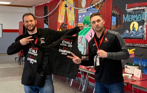 Mr. Coren was presented with the 2nd Annual Chili Cook-off grand prize - a commemorative apron by our very own selfie-king Mr. Mike Novak, assistant superintendent.