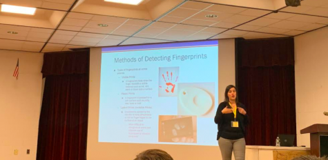 Ms. Hayes discussed with UPAL students the different methods for detecting fingerprints.