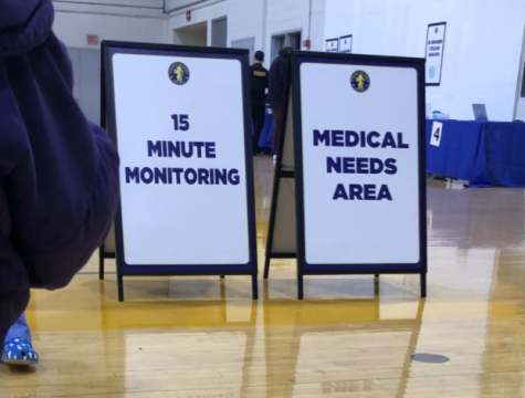 Everyone who received the vaccination shot was required to sit for 15 minutes. Doctors and nurses walked around to monitor for any immediate side effects of the immunization.