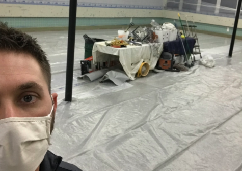 A famous Novak selfie in the cafeteria when the renovations first began in December.